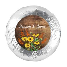 """Personalized Wedding Painted Flowers 1.25"""" Stickers (48 Stickers)"""
