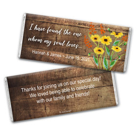 Personalized Painted Flowers Wedding Chocolate Bar Wrappers