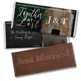Personalized Together at Last Wedding Embossed Chocolate Bars