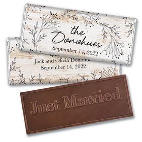 Personalized Delicate Botanicals Wedding Embossed Chocolate Bars