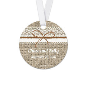Personalized Burlap Lace Wedding Round Favor Gift Tags (20 Pack)