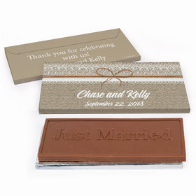 Deluxe Personalized Burlap and Lace Wedding Chocolate Bar in Gift Box