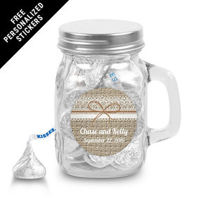 Wedding Favor Personalized Mini Mason Jar Burlap and Lace