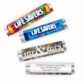 Personalized Mr. & Mrs. Rustic Wedding Lifesavers Rolls (20 Rolls)