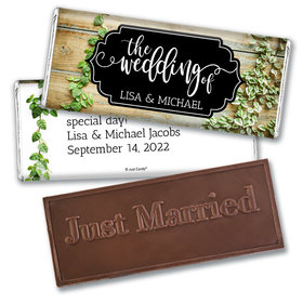 Personalized Vines of Love Wedding Embossed Chocolate Bars