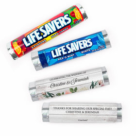Personalized Elegant Arrangement Wedding Lifesavers Rolls (20 Rolls)