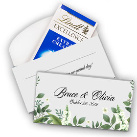 Deluxe Personalized Wedding Botanical Garden Lindt Chocolate Bar in Gift Box (3.5oz)