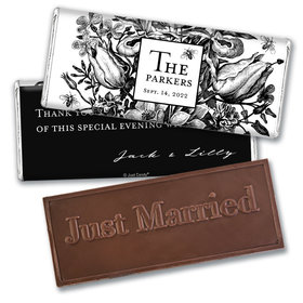 Personalized Ornamental Botanicals Wedding Embossed Chocolate Bars