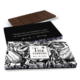 Deluxe Personalized Ornamental Botanicals Wedding Chocolate Bar in Gift Box (3oz Bar)