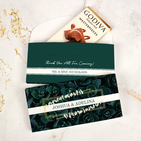 Deluxe Personalized Wedding Enchanting Bloom Godiva Chocolate Bar in Gift Box