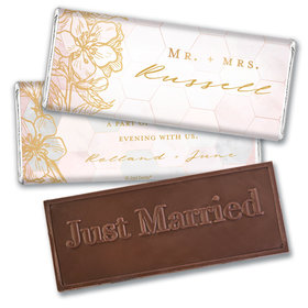 Personalized Blushing Dream Wedding Embossed Chocolate Bars
