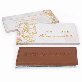 Deluxe Personalized Blushing Dream Wedding Embossed Just Married Chocolate Bar in Gift Box