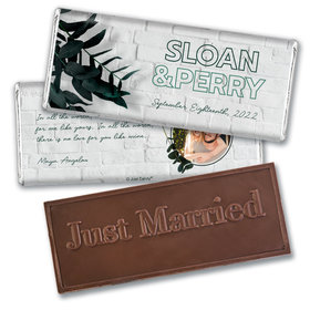 Personalized Contemporary Foliage Wedding Embossed Chocolate Bars