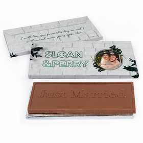 Deluxe Personalized Contemporary Foliage Wedding Embossed Just Married Chocolate Bar in Gift Box