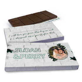 Deluxe Personalized Contemporary Foliage Wedding Chocolate Bar in Gift Box (3oz Bar)
