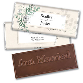 Personalized Romantic Flora Wedding Embossed Chocolate Bars