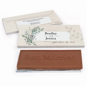 Deluxe Personalized Romantic Flora Wedding Chocolate Bar in Gift Box