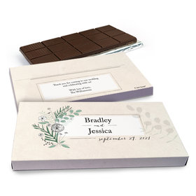 Deluxe Personalized Romantic Flora Wedding Chocolate Bar in Gift Box (3oz Bar)