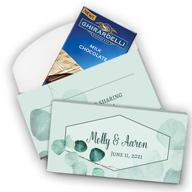 Deluxe Personalized Peaceful Eucalyptus Wedding Ghirardelli Chocolate Bar in Gift Box