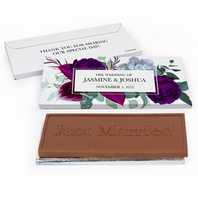 Deluxe Personalized Elegant Botanical Wedding Embossed Just Married Chocolate Bar in Gift Box