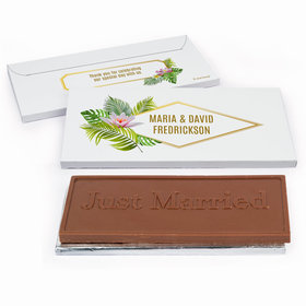 Deluxe Personalized Floral Glam Wedding Chocolate Bar in Gift Box