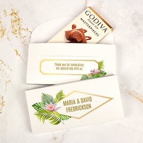 Deluxe Personalized Wedding Floral Glam Godiva Chocolate Bar in Gift Box