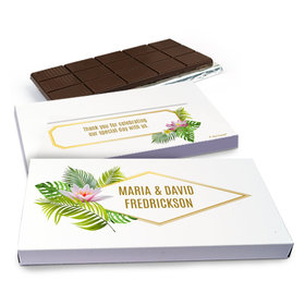 Deluxe Personalized Floral Glam Wedding Chocolate Bar in Gift Box (3oz Bar)