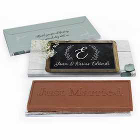 Deluxe Personalized Chalkboard Lettering Wedding Chocolate Bar in Gift Box