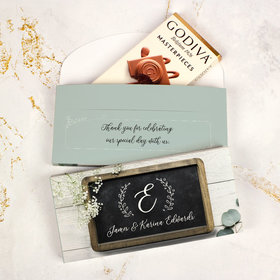 Deluxe Personalized Wedding Chalkboard Lettering Godiva Chocolate Bar in Gift Box