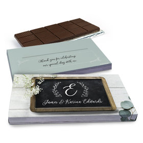 Deluxe Personalized Chalkboard Lettering Wedding Chocolate Bar in Gift Box (3oz Bar)