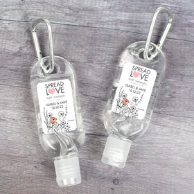 Personalized Hand Sanitizer with Carabiner Wedding 1 fl. oz bottle - Heart Love