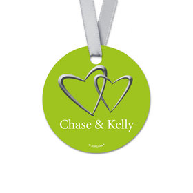 Personalized Linked Hearts Wedding Round Favor Gift Tags (20 Pack)