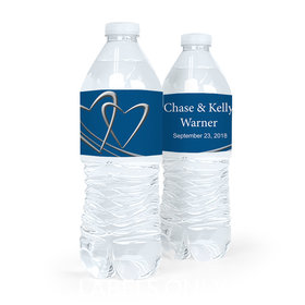 Personalized Wedding Linked Hearts Water Bottle Sticker Labels (5 Labels)