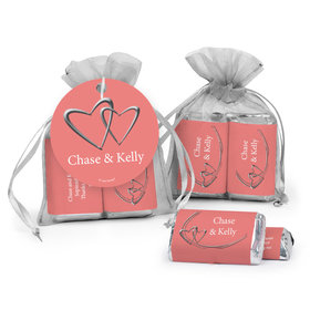 Personalized Wedding Linked Hearts Hershey's Miniatures in Organza Bags with Gift Tag