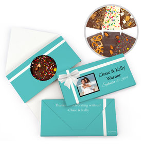 Personalized Tiffany Style Wedding Wedding Gourmet Infused Belgian Chocolate Bars (3.5oz)