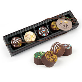 Personalized Wedding Seashore Gourmet Belgian Chocolate Truffle Gift Box (5 Truffles)