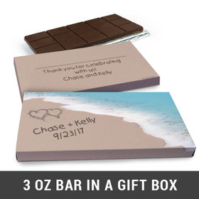 Deluxe Personalized Seashore Heart Wedding Belgian Chocolate Bar in Gift Box (3oz Bar)