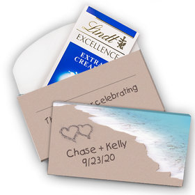 Deluxe Personalized Wedding Seashore Message Lindt Chocolate Bar in Gift Box (3.5oz)