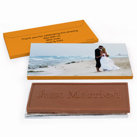 Deluxe Personalized Full Photo Wedding Chocolate Bar in Gift Box