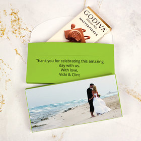 Deluxe Personalized Wedding Add Your Photo Godiva Chocolate Bar in Gift Box