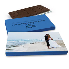 Deluxe Personalized Full Photo Wedding Belgian Chocolate Bar in Gift Box (3oz Bar)