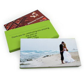 Deluxe Personalized Full Photo Wedding Belgian Chocolate Parve Bar in Gift Box (3.5oz Bar)