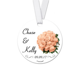 Personalized Wedding Bouquet Round Favor Gift Tags (20 Pack)