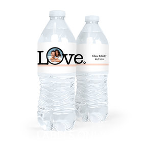 Personalized Circle Photo Wedding Water Bottle Labels (5 Labels)
