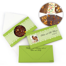 Personalized Lace Photo Wedding Gourmet Infused Belgian Chocolate Bars (3.5oz)