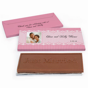 Deluxe Personalized Lace Photo Wedding Chocolate Bar in Gift Box