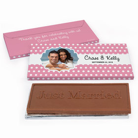Deluxe Personalized Polka Dots Framed Photo Wedding Chocolate Bar in Gift Box