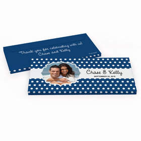 Deluxe Personalized Polka Dots Framed Photo Wedding Hershey's Chocolate Bar in Gift Box