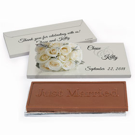 Deluxe Personalized White Roses Wedding Chocolate Bar in Gift Box