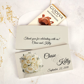 Deluxe Personalized Wedding White Roses Godiva Chocolate Bar in Gift Box
